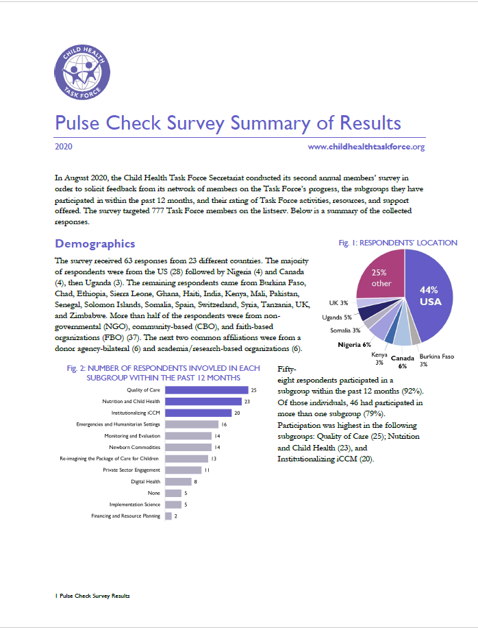 First page of 2020 Membership Pulse Check Survey: Summary of Results