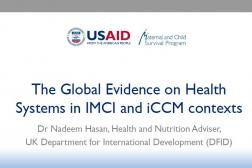 cover photo: The Global Evidence on Health Systems in IMCI and iCCM contexts ; DFID Nadeem INS Workshop 10.30.2018