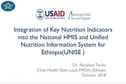 cover photo: Integration of Key Nutrition Indicators into the National HMIS and Unified Nutrition Information System for Ethiopia (UNISE)