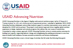 One pager of USAID Advancing Nutrition Program - INS Workshop