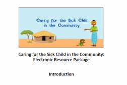 Photo of first page of resource package, cartoon photo of a person in a village.