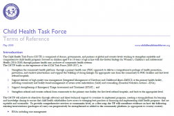 Photo of a word document, Child Health Task Force Terms of Reference.