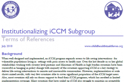 Photo of a word document, Instutionalizing iCCM Subgroup Terms of Reference.
