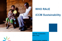 Photo of presentation title slide with image of women and child sitting with a community health worker.