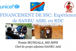 Presentation title slide, French text on white background, 2 photos of village health workers